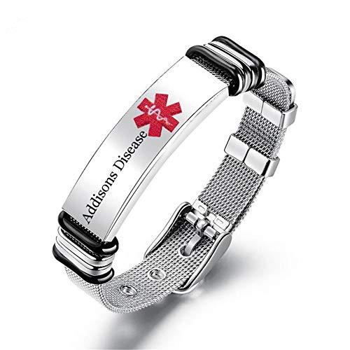 LiFashion Free Custom Gravur Durable Damen Herren Edelstahl Medical Alert Disease Awareness Armband einstellbar Notfall ID Armreif für Erwachsene,Kinder -