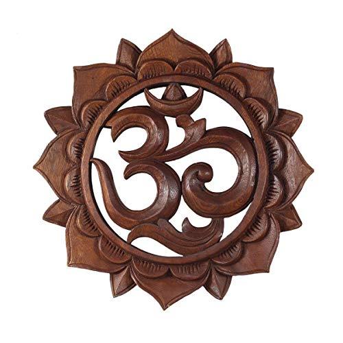 Om Symbol,Aum' Zeichen Mandala Relief Mantra Sanskrit Devanagari Deko Soar Holz ca. 30 cm Ø