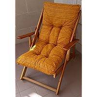 Sillón Tumbona Relax 3Posiciones de Madera Plegable Cojín Relleno H 100cm Salón Cocina Lounge sofá Camping