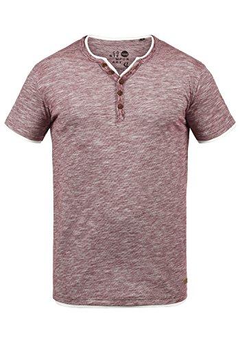 !Solid Digos Herren T-Shirt Kurzarm Shirt Mit Grandad-Ausschnitt Im Double-Layer Look Aus 100% Baumwolle, Größe:XXL, Farbe:Wine Red (0985) -