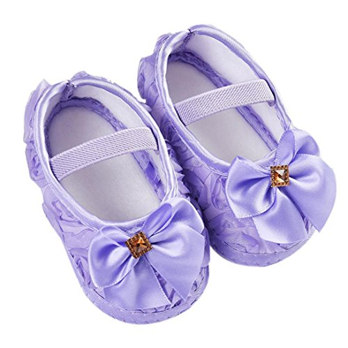 Clode®Toddler Kid Baby Girl Rose bowknot Elastic Band Newborn Chaussures de marche (6 ~ 12 Mois, Blanc) Violet