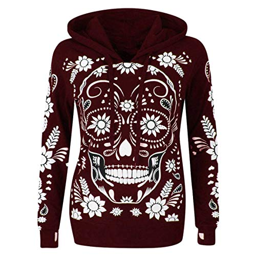 Moonuy Frauen Long Sleeve Hoodies Damen Plus Size Pullover Skull Print Mit Kapuze Fit Schlankes Sweatshirt Pullover Bluse Tops