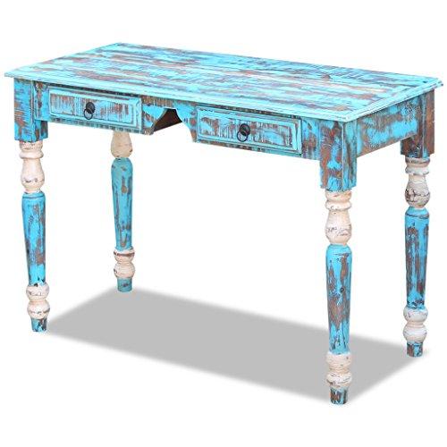 Festnight Vintage-Stil Schreibtisch Arbeitstisch Bürotisch aus Recyceltes Massivholz 110x50x76cm mit 2 Schubladen für Kinderzimmer, Studio oder Büro