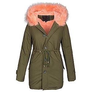 Damen-Winter-Jacke-warme-Winterjacke-Baumwolle-Parka-Mantel-Buntes-Fell-B444