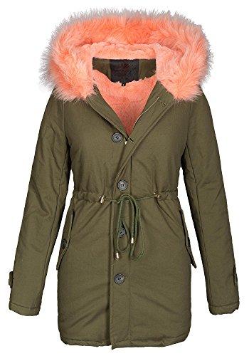 sale retailer e63a1 8c0f7 Damen Winter Jacke warme Winterjacke Baumwolle Parka Mantel Buntes Fell B444