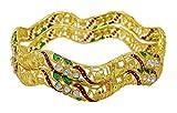 Banithani Traditional Ethnic Gold überzogenes Kada Armbänder Indische Armbänder Schmuck 2 * 8