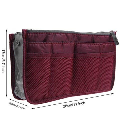Yihya Donne Travel Organizer Bag Viaggiare Organizzatore Sacchetto Borsa Pouch con Doppia Zip Fodera Inserire Tasche Multiple Tidy Cosmetici Pouch Borsa --- ( Vino rosso ) Vino rosso