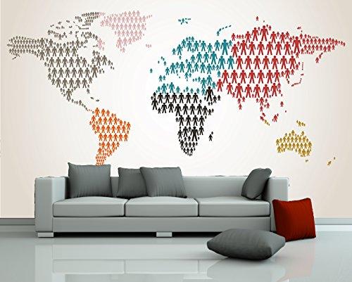 selbstklebende Fototapete Weltkarte Piktogramm Mensch II 360x270 cm - Tapete mit Klebstoff – Wandtapete – Poster – Dekoration – Wandbild – Wandposter – Wand – Fotofolie – Bild – Wandbilder - Wanddeko