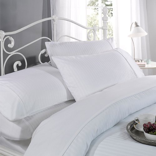 Ritz Satin Stripe Cotton Rich 300 Thread Count Duvet cover Set, Double, White