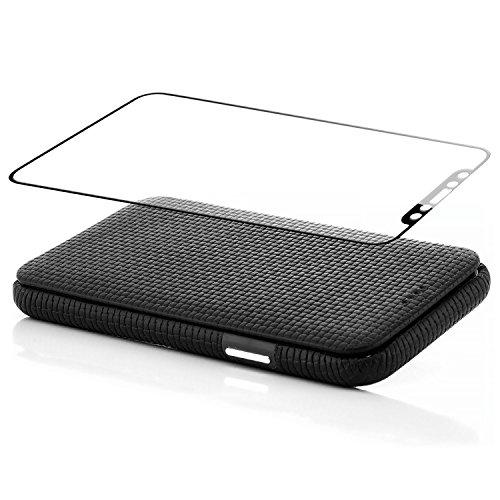 zanasta Coque Apple iPhone X House de Protection + Verre Trempé 3D Cuir Véritable Étui à Rabat Ultra Mince Cover avec Fermeture Magnétique | Surface de la Structure Marron Noir