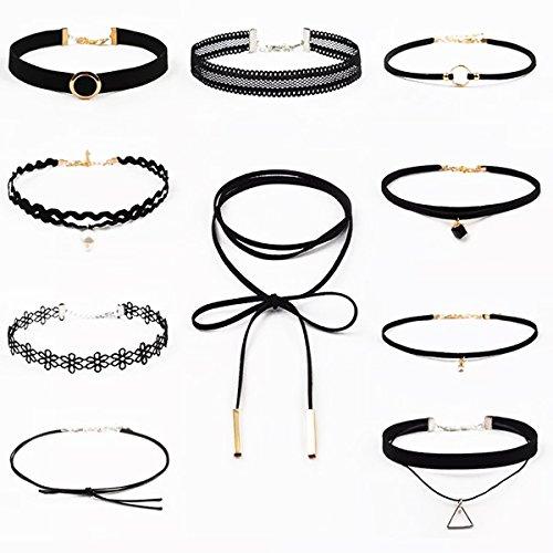 Collar negro 9 piezas Gargantilla Collar para Mujer Chica Retro Gótico Tatuaje Collar 1