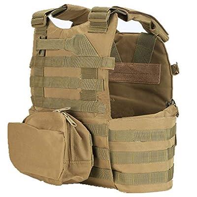 GRZP Taktische Weste, Multifunktionskommando-Ausrüstungskampf-Selbstverteidigungsanzug Armee-Fan Taktische Weste Erwachsene Camouflage Brown-Stab-beständiger Anzug mit Schallwand