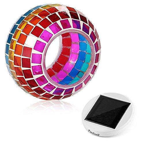 Lámpara de mesa de cristal de mosaico con energía solar, lámpara LED recargable, cristal de cristal, luz nocturna, resistente al agua, para decoración de casa, patio, Navidad, fiesta (arco marro)