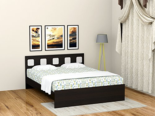 UNiCOS Castle Queen Size Bed (Midnight Oak and Silver)