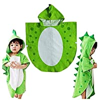Children Bath Towel Robe Kids Hooded Beach Swimming Poncho Dinosaur Pattern