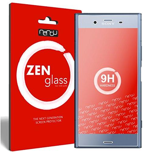 nandu I ZenGlass [2 Stück] Flexible Glas-Folie für Sony Xperia XZ1 Panzerfolie I Display-Schutzfolie 9H I (Kleiner Als Das Gewölbte Display)