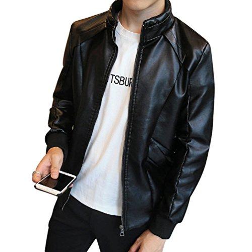 Homme Veste en cuir PU Bomber à Fermeture-éclair Faux Fur Moto Veste Casual Blouson M Noir