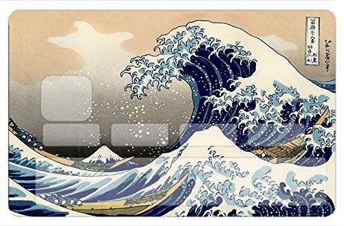 Stickers CB, autocollant pour carte bancaire, La vague de Kanawaga de Hokusai -autocollant de haute qualité, création & fabrication Française