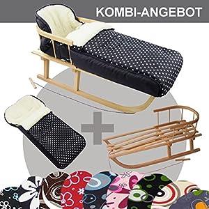 RAWSTYLE *KOMBI-PAKET* Holz-Schlitten mit Rückenlehne & Zugseil + universaler Winterfußsack (108cm) LAMMWOLLE, auch geeignet für Babyschale, Kinderwagen, Buggy