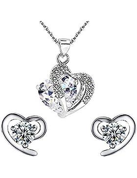 findout Damen Amethyst rot, rosa, blau weiß Kristall-Herz Silber Anhänger Halskette + Ohrring, für Frauen, Mädchen.