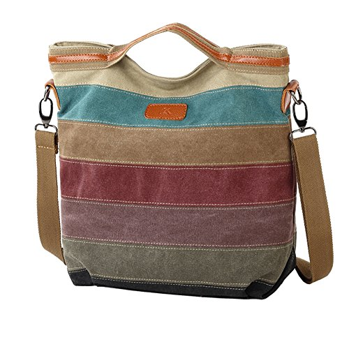 Nameblue Multi-Color-Striped Canvas Damen Tasche Handtasche Umhängetasche Damenhandtaschen Schultertasche Striped Hobo Bags Shopper 1078-multi color