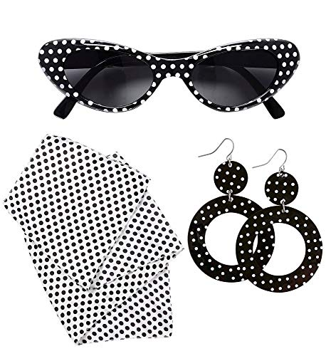 shoperama 50's Lady Kostüm-Zubehör Set 50er Jahre Mod Fünfziger Damen Cat Eye Sonnenbrille Halstuch ()
