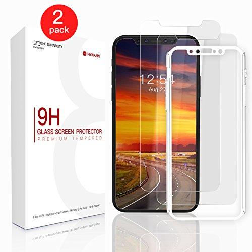iPhone X Schutzfolie, Myriann iPhone X Displayschutzfolie mit Positionierhilfe, 9H Härte, Anti-Kratzen, Anti-Öl, Anti-Bläschen für iphone X / iPhone 10 [2 Stück]