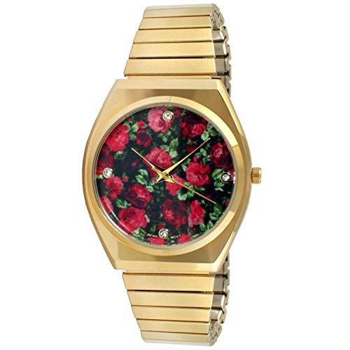 duhr Expansion Band Edelstahl Stretch dünn Schutzhülle schwarz rot floral Kleid Flex Vintage Armbanduhr (Blume Gilr Kleider)