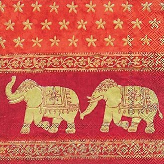 Juego de 20servilletas IHR– elefantes hindúes–33cm x 33cm–3capas