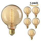 Best Globe Electric Wall Light Fixtures - Nostralux® 5 PACK Premium Vintage Dimmable Spiral Globe Review
