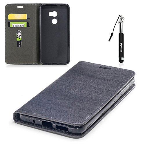 HTC One X10 Hülle, HTC One X10 Tasche Leder, Huphant Flip Case Leder [Auto-Magnet Wood Print Serie]PU Leather Case Wallet Case Magnet Case Schutzhülle Klappbar für HTC One X10(5,5 Zoll) - Dunkelgrau