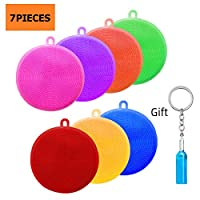 THETAG Kitchen Silicone Sponge, 7 Pieces BPA Free Silicone Pads Anti-Bacterial Non-Scratch Dish Washing Scrubber Pot Holder Multipurpose Sponges for Cleaning Vegetable Kitchen Utensils