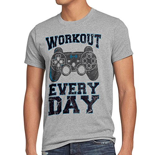 style3 Gamer Workout Herren T-Shirt play sport station controller ps game, Größe:XL;Farbe:Grau meliert