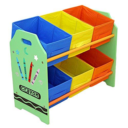 Bebe Style GCR6BR Spielzeug-Kommode in Kindergröße, mit 6 Aufbewahrungsboxen, grün