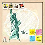 ArtzFolio Liberty New York Usa Printed Bulletin Board Notice Pin Board cum Natural Brown Framed Painting 12 x 12inch