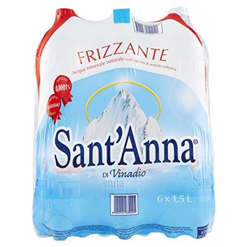 SantAnna Blister dAcqua Minerale Frizzante Confezione da 6 Bottiglie di Plastica Ciascuna da 1.5 Litri