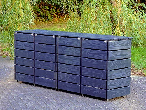 4er Mülltonnenbox / Mülltonnenverkleidung 120 L Holz, Deckend Geölt Anthrazit Grau - 4