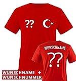 Trikot - TÜR - WUNSCHDRUCK - Herren T-Shirt - Rot/Weiss Gr. XL