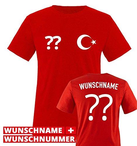 Trikot - TÜR - WUNSCHDRUCK - Herren T-Shirt - Rot/Weiss Gr. S