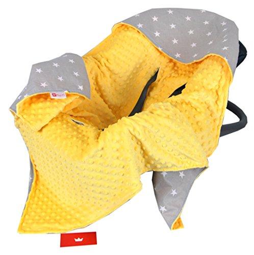 BabyLux Baby EINSCHLAGDECKE 90x90 cm Babyschale Kinderwagen Buggy Minky Decke (6. Gelb + Sterne) (Gelb-decken)