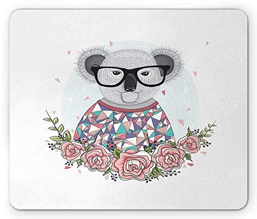 Koala Mouse Pad, Abstract Koala Bear Design with Polygonal Patterned Dress Hipster Glasses Rose Frame, Standard Size Rectangle Non-Slip Rubber Mousepad, Multicolor