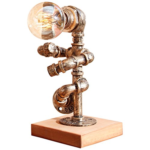 homelx American Retro Style Kreative Roboter Schreibtischlampe, Wohnzimmer Schlafzimmer Nachttisch Kreative Tischlampe, Bar Studie Büro Industrielese Lampe, Eisen Lampe, Rohre Lampe, Rohr Lampe, E27 (Roboter Drahtlose)