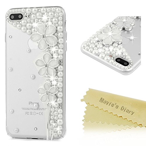 iPhone 7 Plus Schutzhülle (14 cm) - Mavis 's Diary Fancy 3D Handmade Bling Kristalle Diamanten Lovely glänzend Sparkling Strass Gems Full Um Schutz Klar Hard PC Cover, Flowers with Pearls Casuals China Pearl