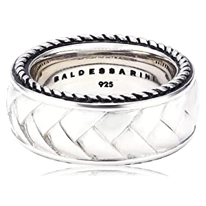 Baldessarini Herren-Ring 925 Sterling Silber rhodiniert und schwarz lackiert