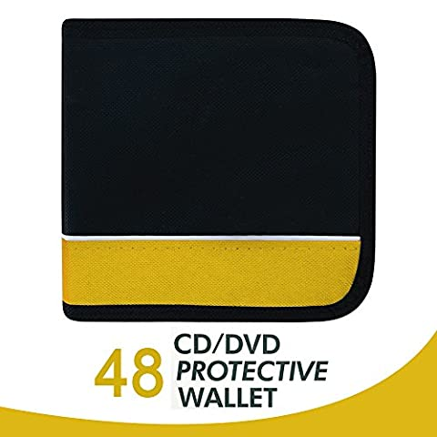 48 CD DVD Car Disc Storage Wallet Holder With Zip, Carry Case Pocket Protector Sleeves Purse Bag (Black/Yellow)