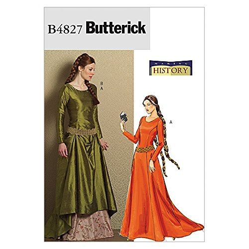 Butterick Schnittmuster 4827–Historisches Kostüm Mittelalter Kleid & Gürtel