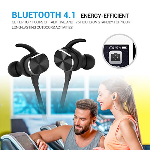 Bluetooth Kopfhörer, MixcMax IPX5 Wasserdichte In Ear Wireless Ohrhörer mit Magnetischer Verbindung, Sport Kopfhörer Eingebautem Mic, HiFi Sound, Noise Cancelling für iPhone, iPad, Android, Tablets, Laptop - Bild 4