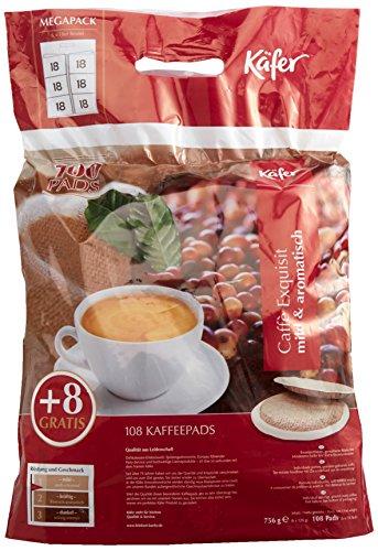 Käfer Caffè Exquisit Megabeutel, 6 x 18 Kaffeepads (100 + 8 gratis), Aroma-Softpack, 756 g, 1er...