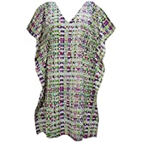 Boho Chic Designs Ladies Short Kaftan Dress Multigreen Kimono V-Neck Summer Beach Dress M