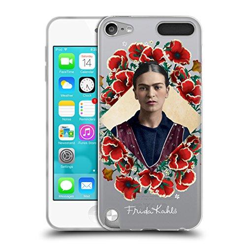 Head Case Designs Offizielle Frida Kahlo Mohnblume-Kranz Portrait 2 Soft Gel Hülle für Apple iPod Touch 5G 5th Gen (Soft Touch Kranz)